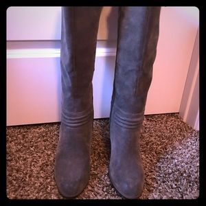 Nicole Miller Brushed gray wedged knee boots